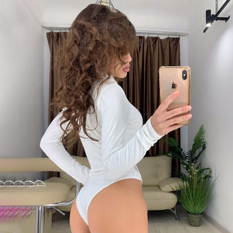 OSLLENLLA Mesh Patchwork Knitted Bodysuit Women Turtleneck Long Sleeve Bodycon Bodysuit Ladies Sexy One Piece of Shorts Jumpsuit