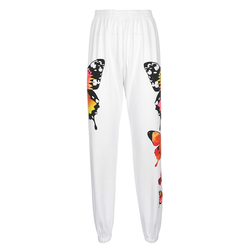 Streetwear Butterfly Print Women Joggers High Waist Sweatpants Ladies Harajuku Jogger Trousers Streetwear  Loose Track Pants