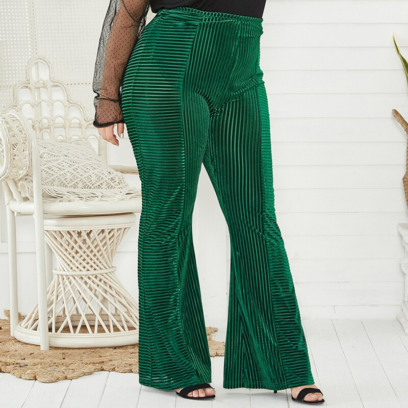 Women Green Flare Pants Solid Color Wide Leg Spring Pants Fashion Casual Plus Size Women's Trousers 2020 New
