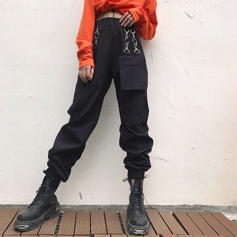 OSLLENLLA  Pockets Hip Hop Harajuku Pants Capris Red Black Casual High Waist Trousers Women Streetwear Joggers Ladies with strip