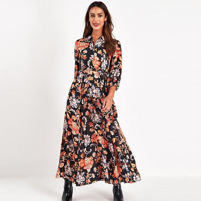 karisland Black-2 / M Maxi Dress Floral Dress Maxi Dress - karisland