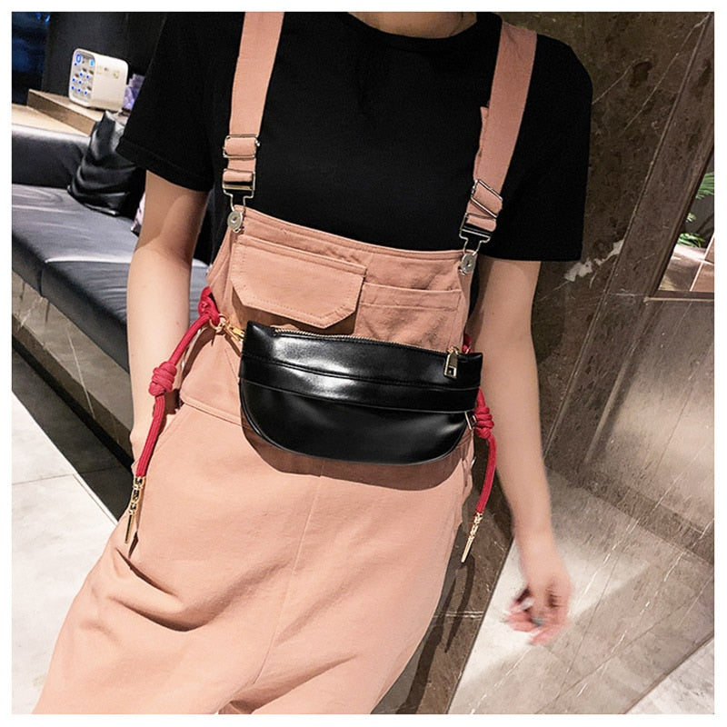 karisland Casual Women Fashion Weaving Belt Chest and Shoulder Bags - karisland