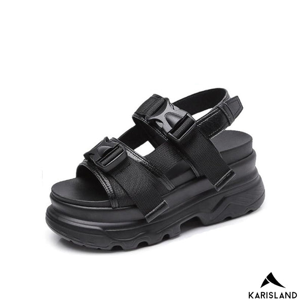 karisland Black / 4.5US / 35EU Think Soled Casual Sandals - karisland