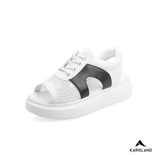 karisland Black white / 4.5US / 35EU Casual Chunky Wire Sandals - karisland