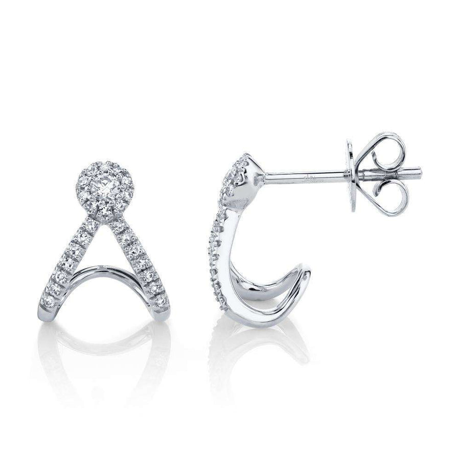 Shy Creation .20CTW Diamond Halo Stud Earrings