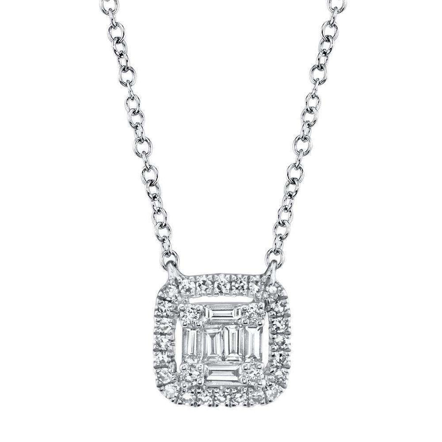 Shy Creation Diamond Pendant Baguette Center with Halo