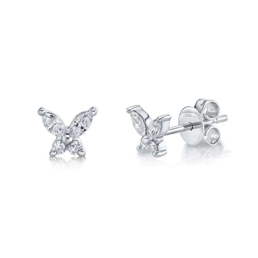 Shy Creations 0.29CTW Diamond Butterfly Stud Earrings