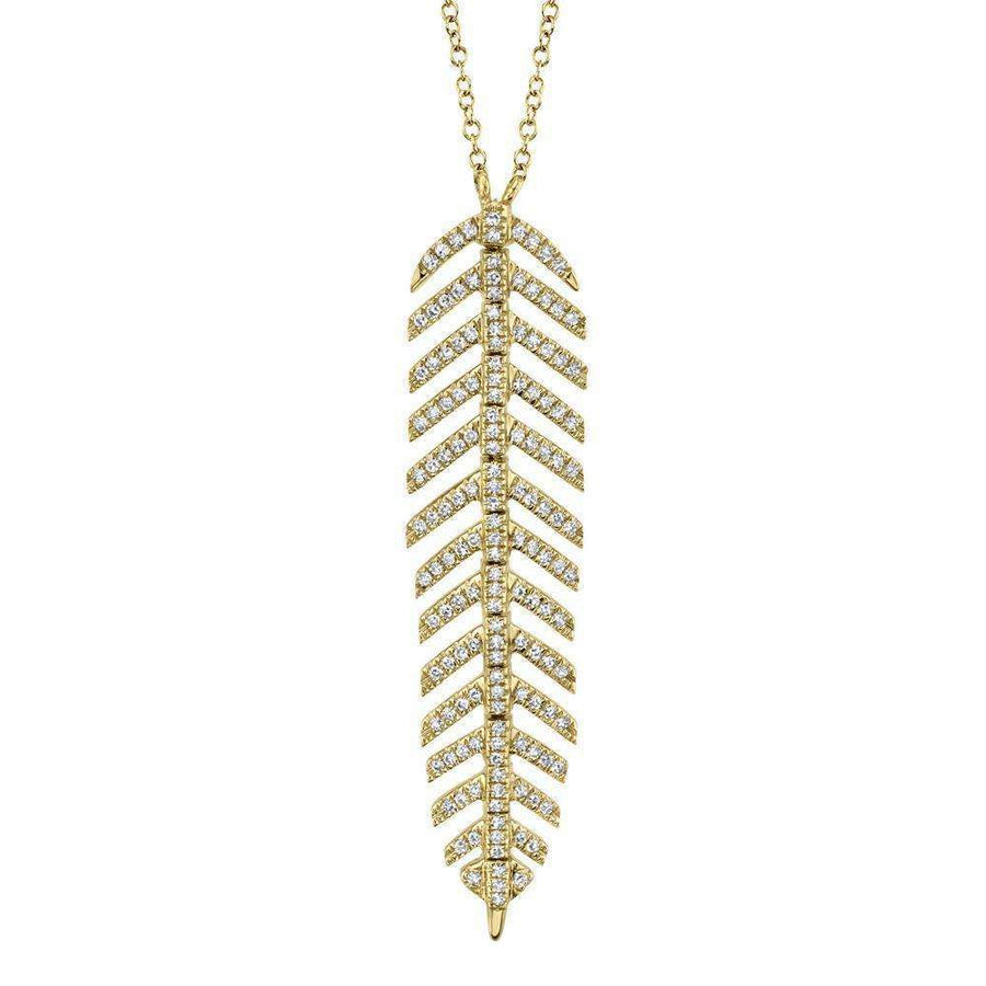 Shy Creation 0.29CTW Diamond Feather Necklace