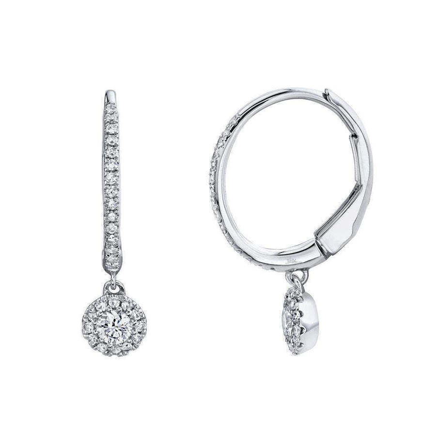 Shy Creation 0.30CT Diamond Halo Dangle Hoop Earrings