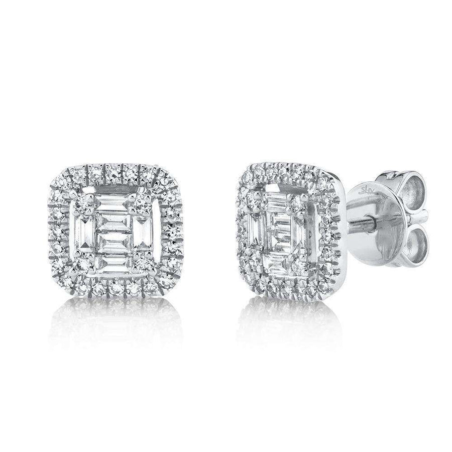 Shy Creation 0.43CTW Diamond Baguette Stud Earrings