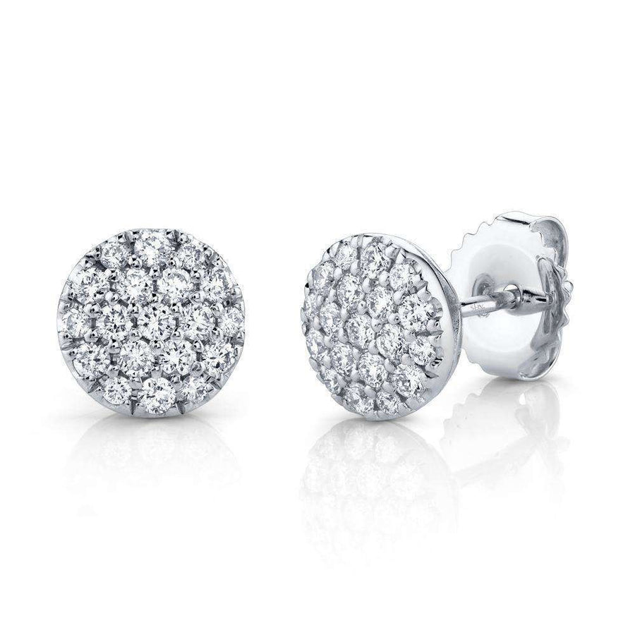 Shy Creation 0.48CTW Diamond Pave Circle Stud Earrings
