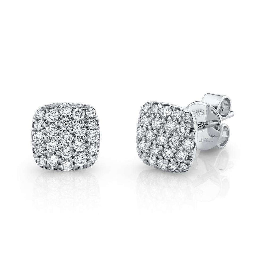 Shy Creation 0.50CTW Diamond Pave Square Stud Earrings