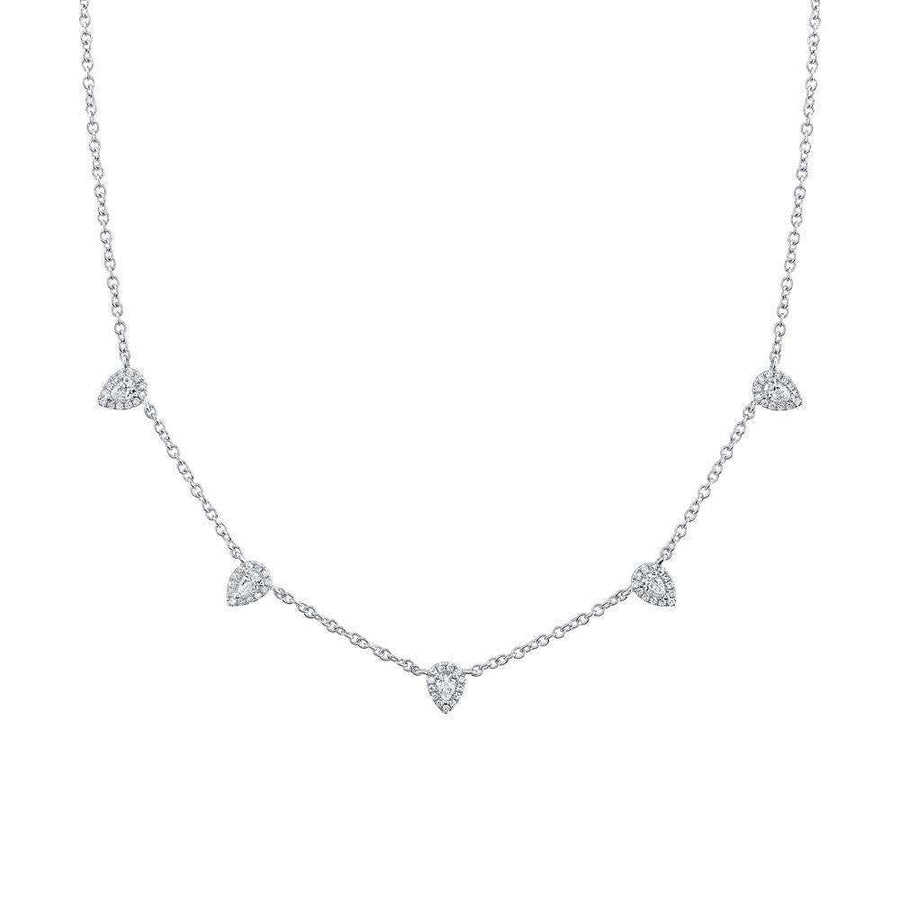 Shy Creation 0.54CTW Pear Shaped Diamond Station Necklace