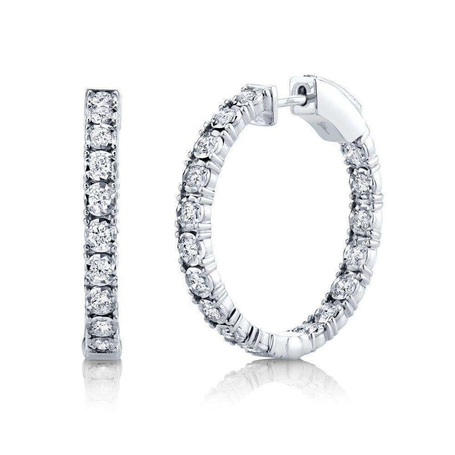 Shy Creation 1.06CTW Diamond Hoop Earrings