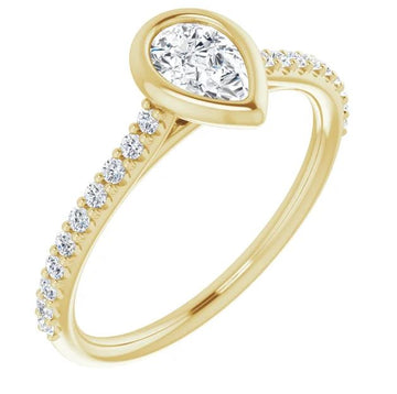 Skeies Designed Pear Shaped Bezel Engagement Ring