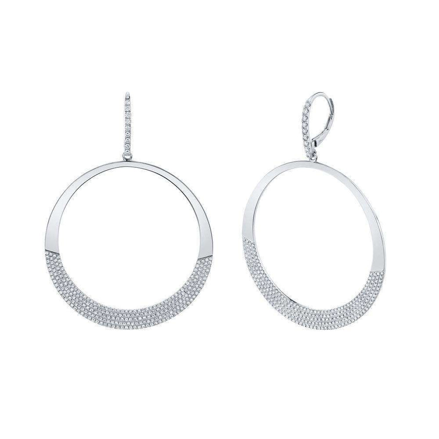 Shy Creation 1.37CTW Diamond Pave Circle Earrings