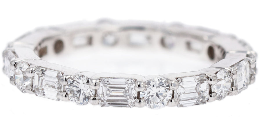 JB Star Emerald Cut and Round Diamond Eternity Band
