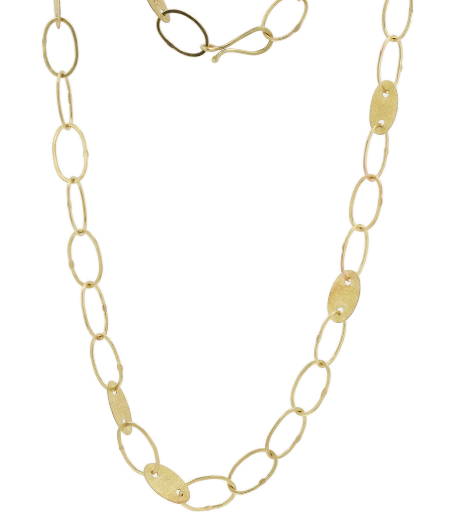 Petra Class Oval Link Chain with Yellow Gold Platlets Necklace
