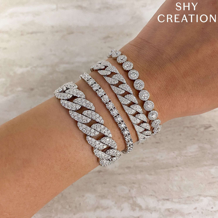Shy Creation 3.19CTW Diamond Pave Chain Bracelet