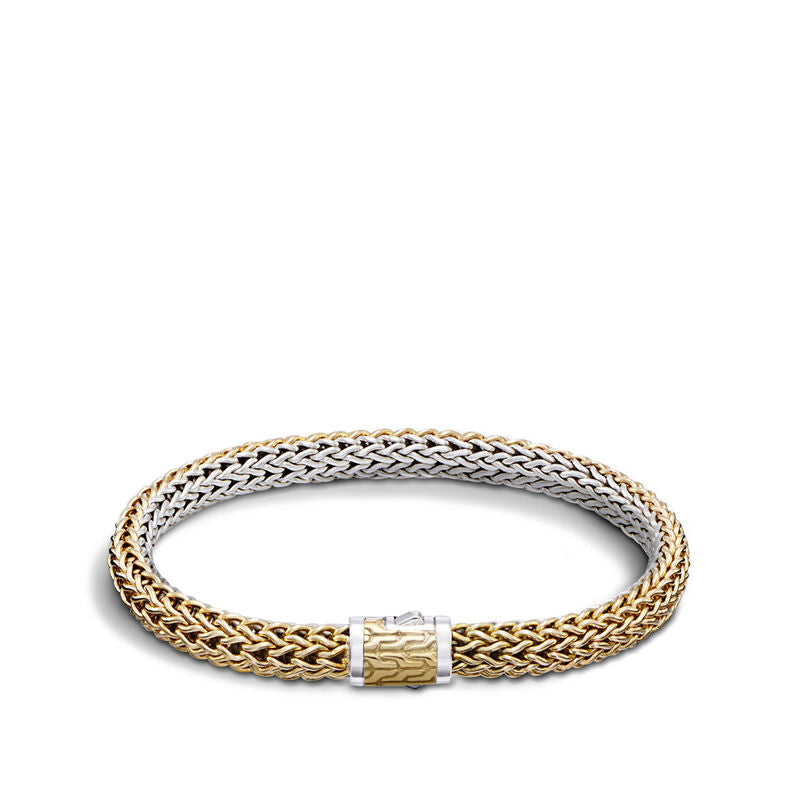 John Hardy Gold and Silver Small Reversible Bracelet