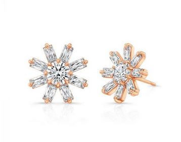 Rahaminov Diamond Flower Stud Earrings
