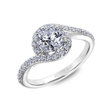 Frederick Goldman Diamond Swirl Halo Engagement Ring