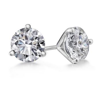 White Gold Martini Set Diamond Stud Earrings