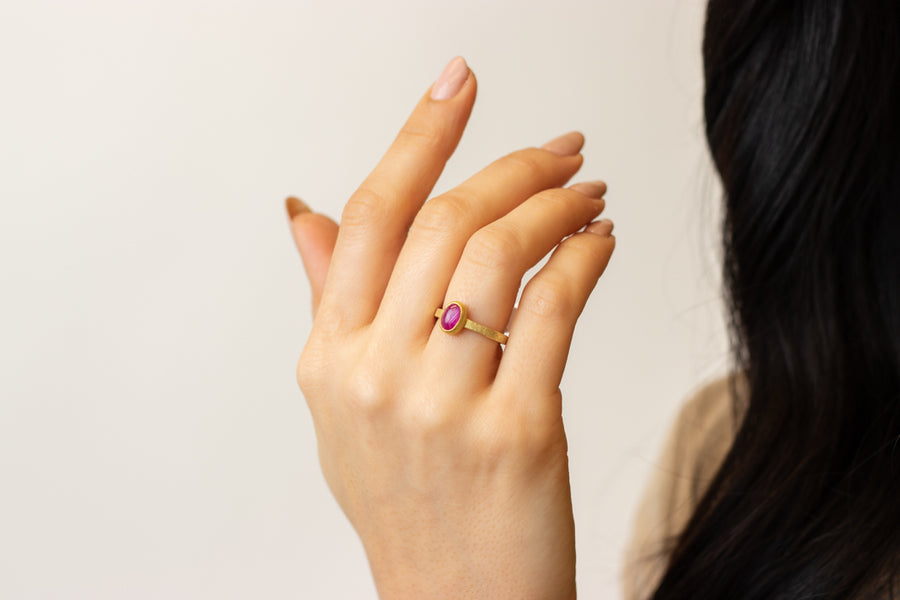 Petra Class Oval Star Ruby Cabochon Ring