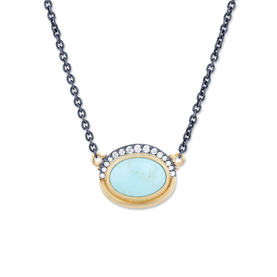 Lika Behar Kingman Turquoise with Cognac Diamonds Pendant