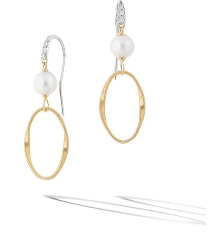 Marco Bicego® Marrakech Onde Diamond & Pearl Drop Hoop Post Earrings