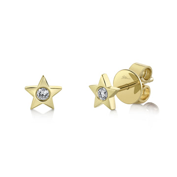 Shy Creation Diamond Star Stud Earrings