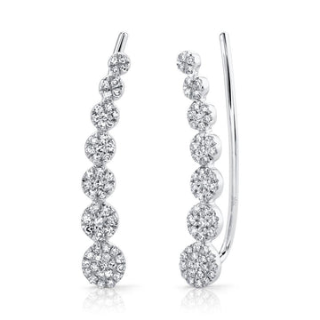 Shy Creation .25CTW Diamond Ear Crawler Earrings