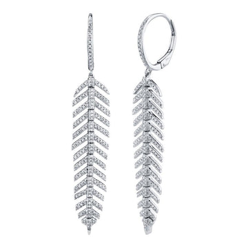 Shy Creation .60CTW Diamond Feather Earrings