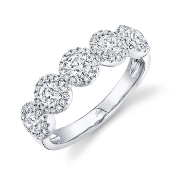 Shy Creation 1.00CTW 5 Halo Diamond Band