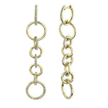 Shy Creations Alternating Diamond Link Dangle Earrings