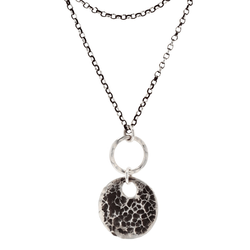 arianna nicolai oxidized silver riptide disc necklace
