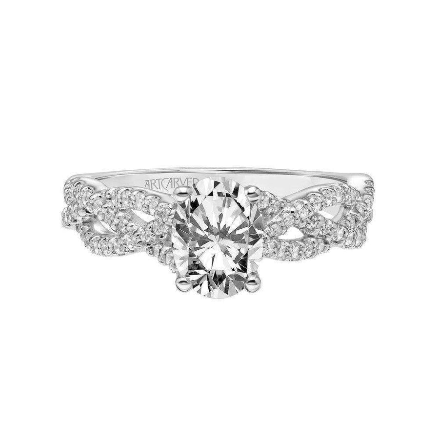 Artcarved 3-Row Twisted Diamonds Shank Engagement Ring