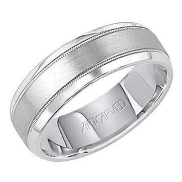 Artcarved Brushed Milgrain Wedding Band