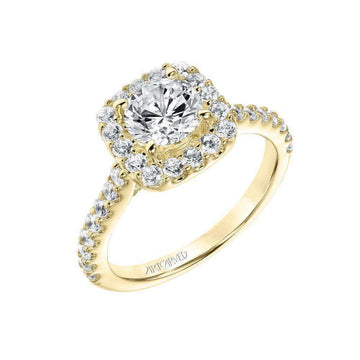 Artcarved Cushion Cut Halo Diamond Engagement Ring