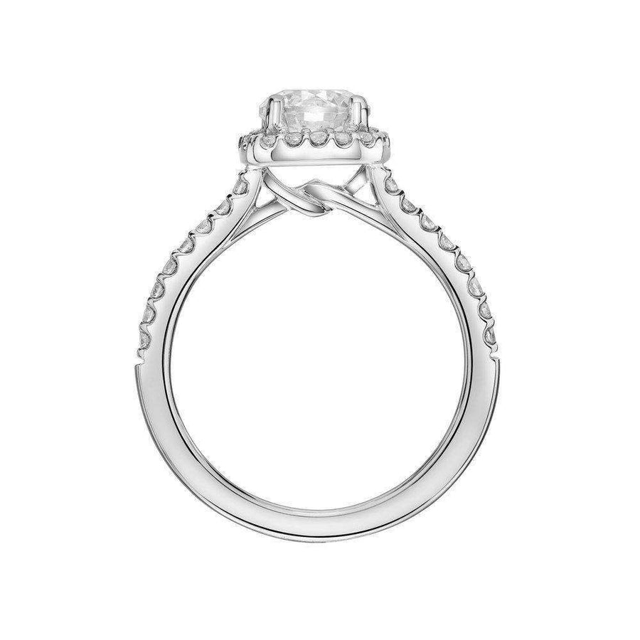 Artcarved Cushion Cut Halo Diamond Shoulder Engagement Ring