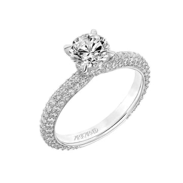 Artcarved Diamond Pave Side Stones Shank Engagement Ring