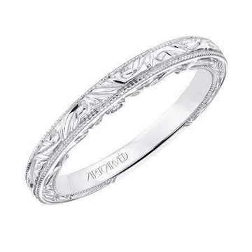 Artcarved Filigree Engraved Diamond Wedding Band