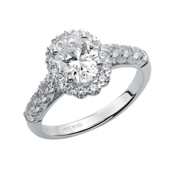 Artcarved Oval Halo Diamond Shoulder Engagement Ring