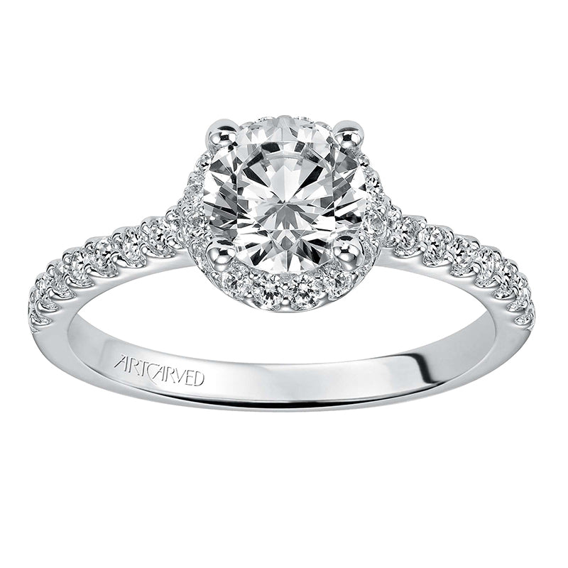Artcarved Round Halo Diamond Shank Engagement Ring top