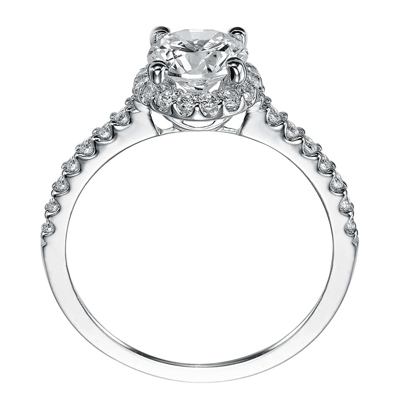 Artcarved Round Halo Diamond Shank Engagement Ring side