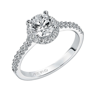 Artcarved Round Halo Diamond Shank Engagement Ring
