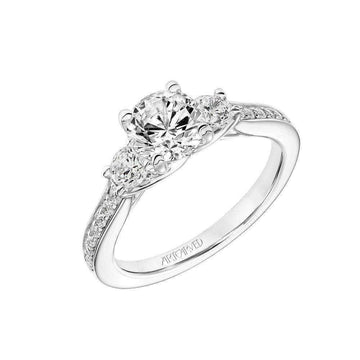 Artcarved Three Stone Diamond Shank Engagement Ring