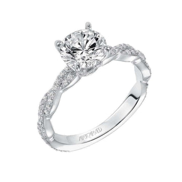 Artcarved Twisted Sidestone Diamonds Engagement Ring