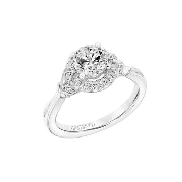 Artcarved Vintage Floral Halo Gallery Diamond Engagement Ring