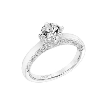 Artcarved Vintage Milgrain Filigree Diamond Gallery Engagement Ring